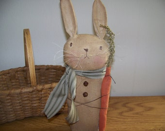 Primitive Stained Spring Easter Rabbit With Carrot Shelf Sitter Fabric Art
