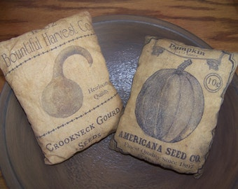 Set of 2 Primitive Vintage Logo Seed Pack Pillow Tucks