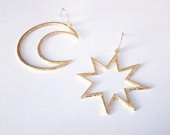 Asymmetrical Moon and Star Earrings