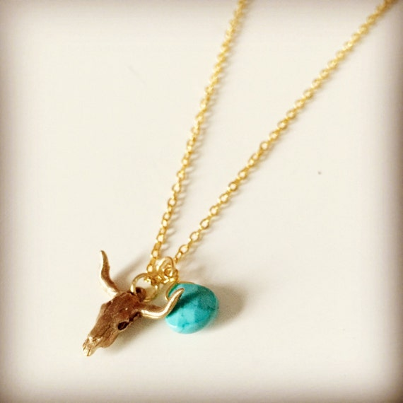 horn cow skull necklace with birthstone