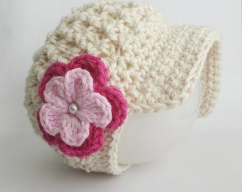 Newsboy Baby girl Hat, Natural Crochet Baby girl Hat with Pink Flower, Newborn Photo Prop