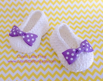 Baby Booties, Crochet Baby Booties, Baby Girl Booties, Purple Bow Crochet slippers, Baby Girl shoes