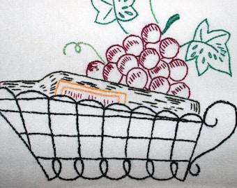 Hand Embroidered Tea Towel Dish Towel ~ Grapes & Wine