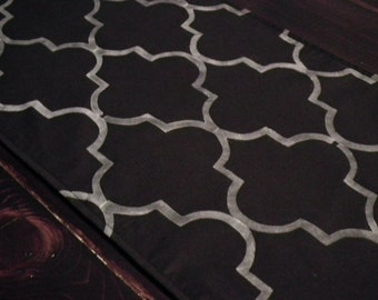 Short BLACK table runner for end tables or wedding altar,  hand stenciled quatrefoil pattern, moroccan style decor, custom colors available