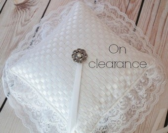 On clearance- WHITE satin ribbon ring bearer pillow, white lace ring cushion, wedding pillow - ready to ship