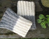 SALE 70% Knit 2 ways to wear Grey with White Wool  Leg Warmers   Boot cuffs Boot toppers