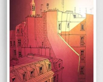 Paris illustration - Sundown - Fine art illustration Architectural illustration Art Posters Paris art Paris decor Wall art Yellow Red Tubidu