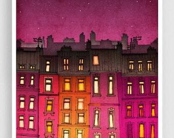 Paris red facade - Paris illustration Art illustration Mixed media illustration Art Prints Posters Paris decor Architecture City landscape