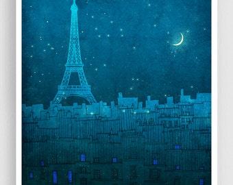 The Eiffel tower in PARIS - Paris illustration Art Illustration Print Poster Paris Art Paris decor Home decor Architecture Blue Turquoise