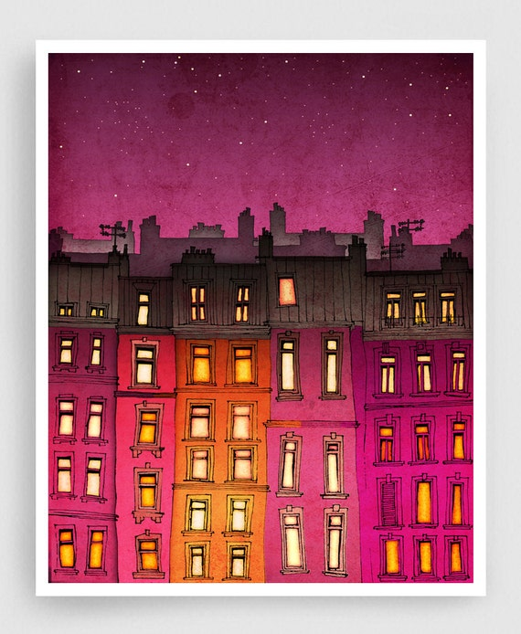 Paris red facade - Paris illustration Art illustration Mixed media illustration Art Prints Posters Paris decor Architecture City landscape