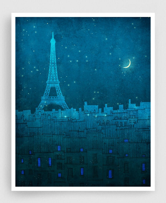 The Eiffel tower in PARIS - Paris illustration Art Illustration Print Poster Paris Art Paris decor Home decor Architecture Blue Turquoise