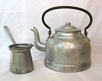 Vintage tea kettle, Coffee pot and cup Thick aluminum 50s. Midcentury cookware