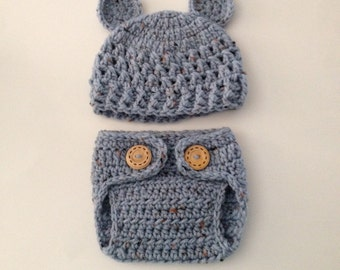 Newborn Bear Set,Crochet Baby Hat and Diaper Cover,Newborn Photo Prop,Newborn Boy Coming Home Outfit,Made To Order