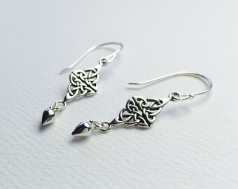 All Sterling Silver Celtic Knot earrings, Celtic minimalist jewelry