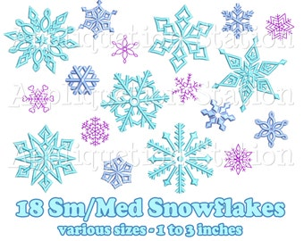 Small & Medium Snowflake Set 18 Designs Machine Embroidery Design Winter Snow Frozen INSTANT DOWNLOAD