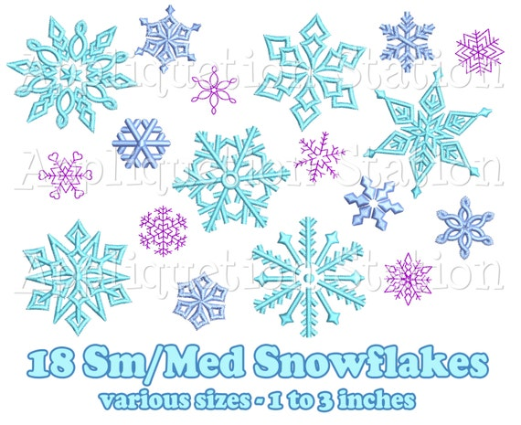 Small medium snowflake set designs machine embroidery
