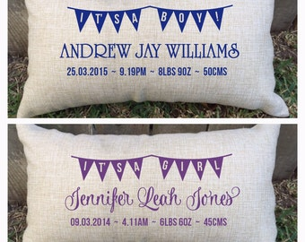 So cute baby boy or baby girl BUNTING pillow for new borns, christenings, first birthday and more - customised just for you.