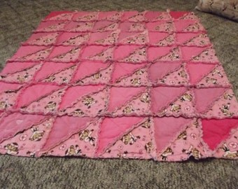 rag quilt pink with monkeys