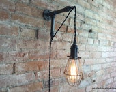 Edison Sconce - Industrial Furniture - Bulb Cage - Wall Sconce - Plug In Wall Lamp - Pendant Light