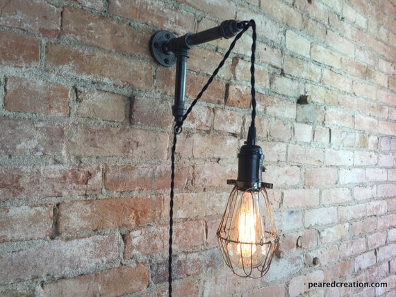 Industrial Wall Sconce Plug In : Edison Sconce Industrial Furniture Bulb Cage Wall Sconce