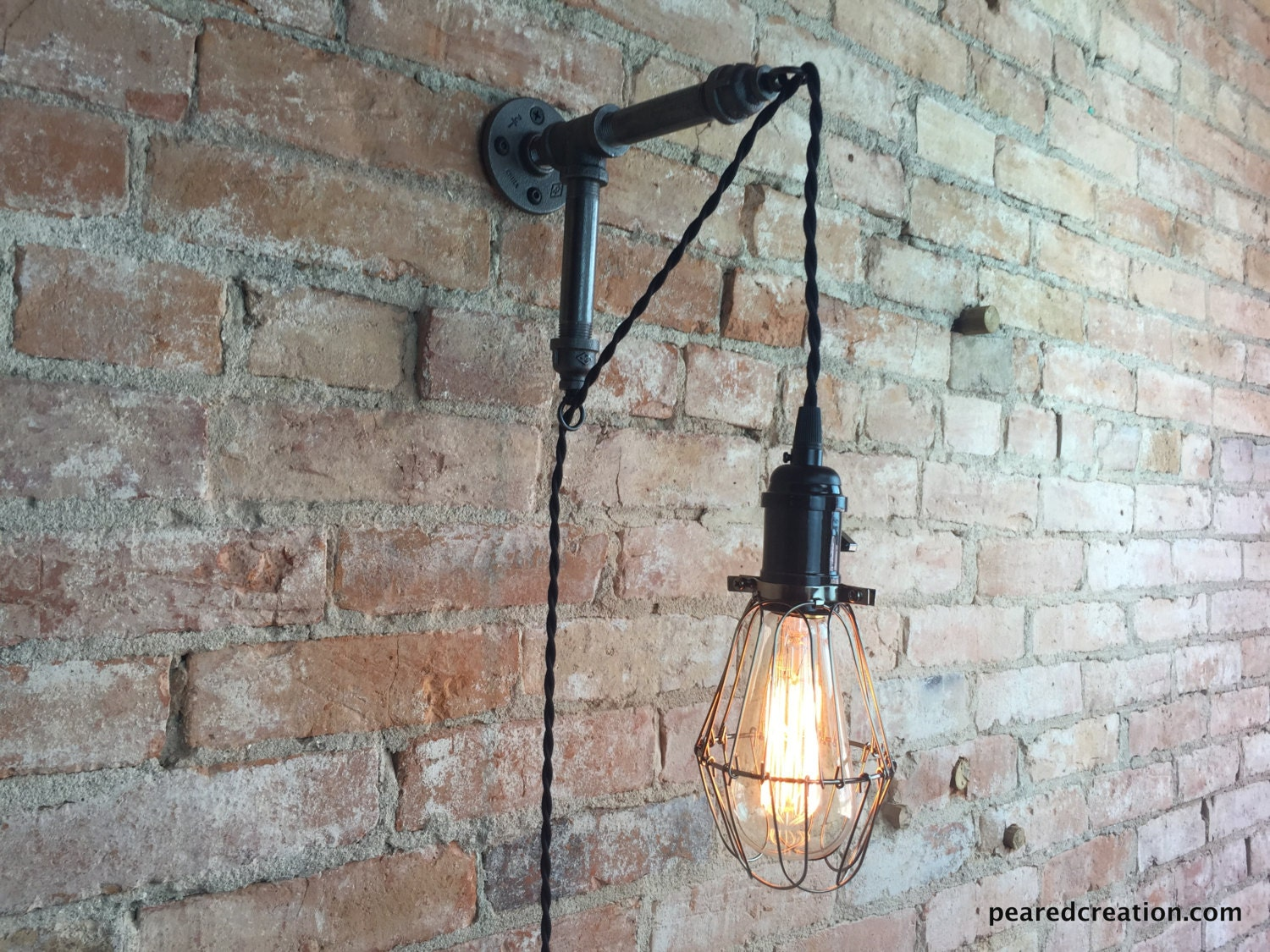 Edison sconce industrial furniture bulb cage wall sconce for Industrial lamp kit