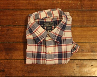 Ralph Lauren oxford short sleeved checkered plaid /// button up workwear Polo Jeans Company /// Mens Large