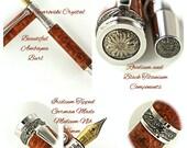 Custom Wooden Pen Fountain Pen Beautiful Amboyna Burl  Rhodium and Black Titanium Hardware 789FPD