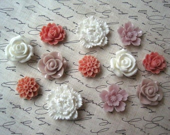 Resin Flowers, 12 pcs, Cabochon Flowers, Pinks and Whites, Resin Roses, Dahlias, Sakura, Perfect for DIY Jewelry Projects