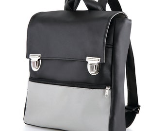 Black Backpack , Black Faux Leather Backpack, Laptop Backpack, Laptop Bag, Vegan Backpack, Retro Style Backpack For Women, College Backpack