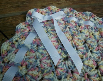 Baby Blanket/Afghan Unisex Hand Crocheted Variegated Baby Print Yarn With White Ribbon 33 Inches Square READY TO SHIP