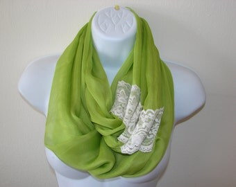 green infinity scarf with lace, green chiffon scarf, spring scarf, summer scarf, Easter scarf, circle loop scarf woman fashion scarf