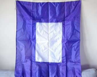 Vintage Navy Blue With White Square Nautical Signal Flag - Nautical Decor - Nautical Flag