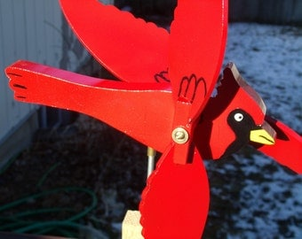Fathers Day, Cardinal Wind Spinner , Handcrafted Cardinal Whirlygig, Flying Cardinal, Yard Decoration, Lawn Ornament, Lawn Decor