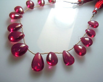 Corundum Ruby Heated  Gemstone Smooth Briolette Pear  Drops Hige Size - 8x12mm-12x17MM Approx 8'' AAA Quality Wholesale Price