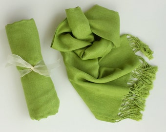 APPLE GREEN PASHMINA. Pashmina Shawl. Pashmina Scarf. Bridesmaid Gifts. Wedding Favors.