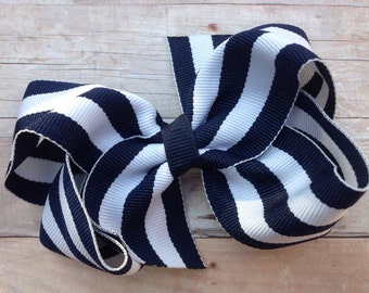 Navy & white striped boutique bow - navy boutique bow
