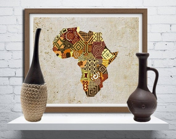 african map art african print map decor african wall art. Black Bedroom Furniture Sets. Home Design Ideas