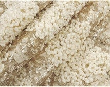 gold lace fabric, gold sequin lace fabric, embroidered lace fabric, 3D yarn Crochet lace fabric, photography prop