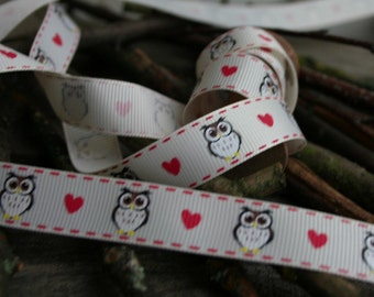 Owl and Heart Print Grosgrain Ribbon, 16mm, Grosgrain Ribbon, By the Metre