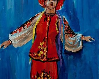 "Ukrainian girl. Ukrainian art. Acrylic painting by Ukrainian artist Nataly Basarab (11.6x 8.3"") Artist signed. Original"
