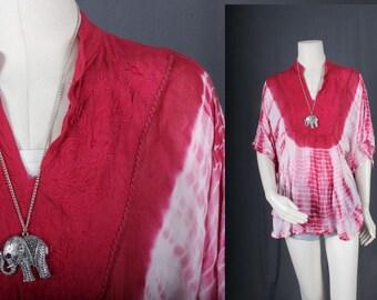 Tie Dye Top Pink White mini dress hippie ethnic boho bohemian indian size OSFA S M L XL Large
