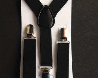 Black Suspenders Newborn-Adult Boys Bowtie and suspenders Set Toddler Suspenders & Necktie Mens bow tie Fathers Matching Wedding ring bearer