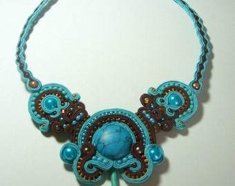 Turquoise, soutache statment neck piece, gemstones, hand made