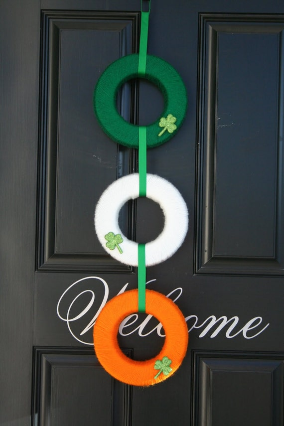 St Patrick's Day Yarn wreath with shamrocks