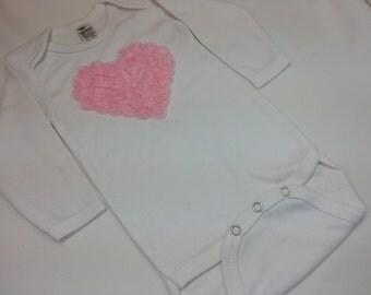 VALENTINE ONESIE/SHIRT,Pink  Rose Heart Applique on a White Long Sleeved Onesie/shirt  Babies Sizes Newborn to 5/6 T