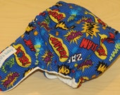 One Size Hybrid Fitted Cloth Diaper shell - wham, slam, super hero