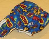 One Size Hybrid Fitted Cloth Diaper shell - wham, slam, super hero