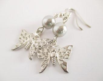 SALE - Butterfly Earrings, Butterfly Jewelry, Silver Earrings, Mother's Day, Gift For Her, Drop Earrings, Silver Butterfly, Insect Jewellery