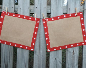 Tailored Red and Burlap Placemats- Set of 2- Reversible