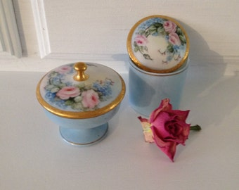Vintage pink roses trinket boxes antique Shabby chic handpainted blue and pink trinket boxes antique nippon by herminas cottage